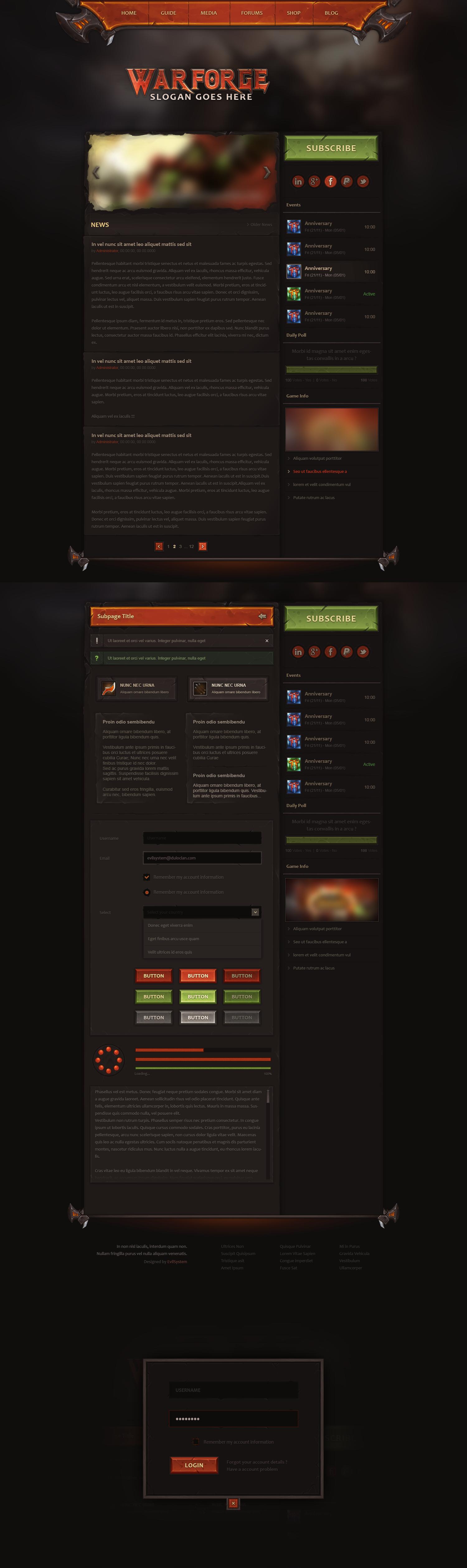 Warforge - Game Website Design by Evil-S
