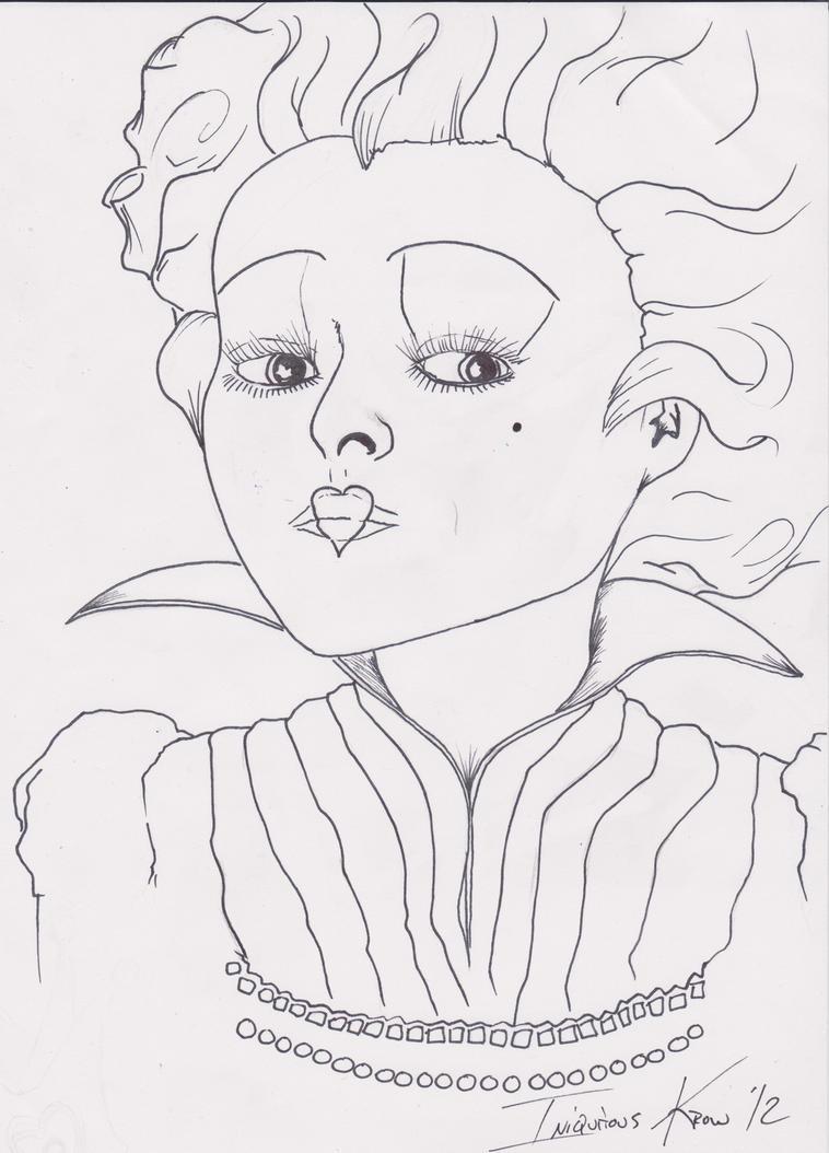 Line Drawing Queen : Queen of hearts line work tim burton prompt pen by