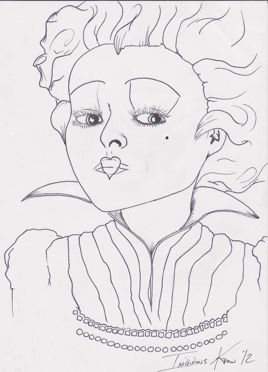 Queen Of Hearts Tim Burton Drawing