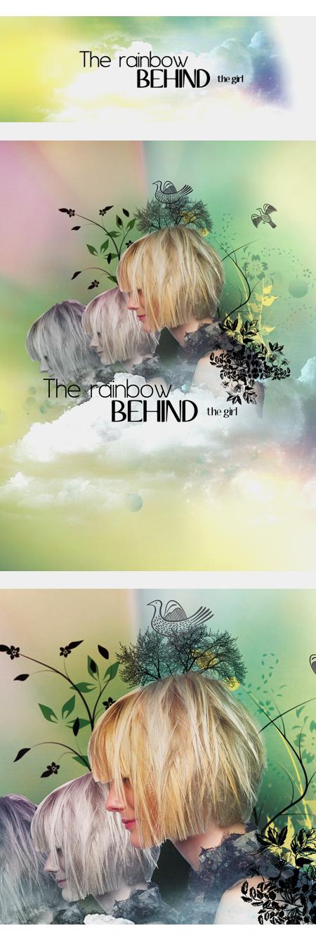 The rainbow behind the girl