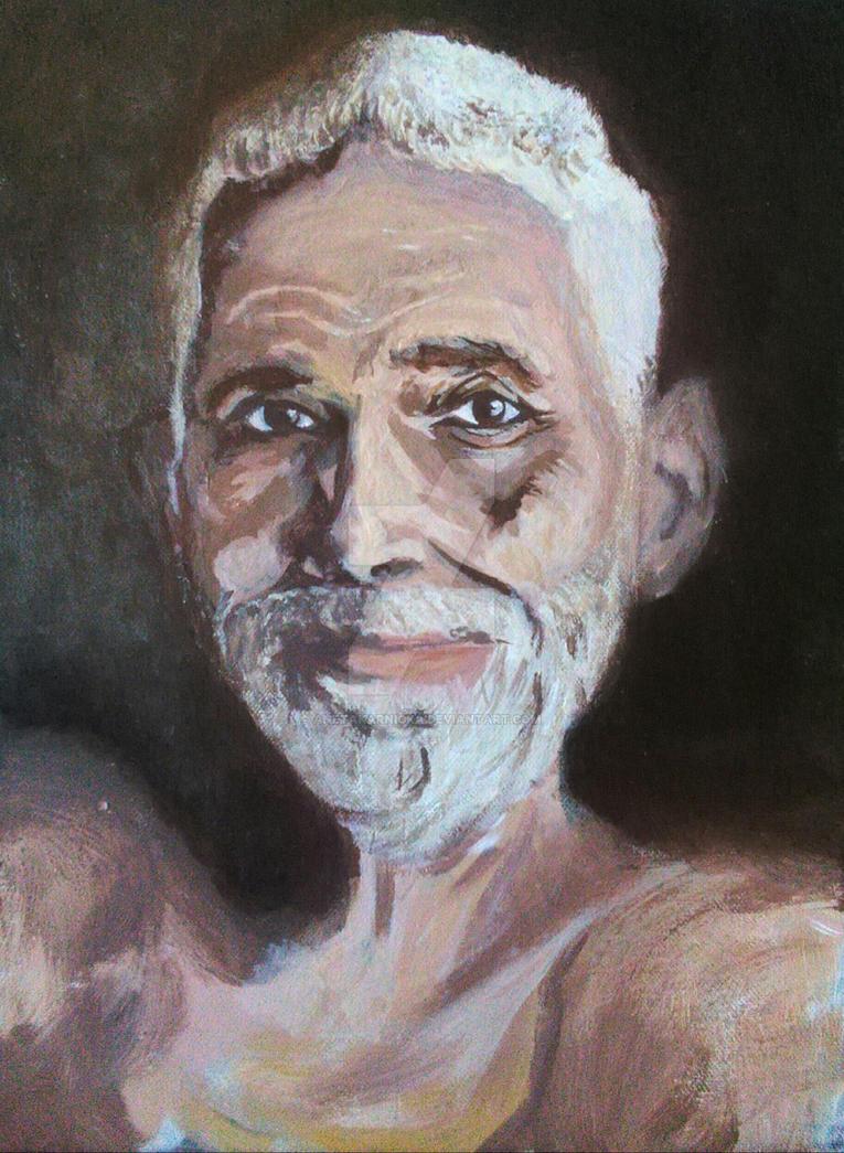 Portrait of Ramana Maharshi by AnetaKarnicka