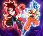 Super Full Power SSJ4 Xeno Goku and SSJBE Goku