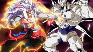 SSJ5 Xeno Goku vs Omega Shenron