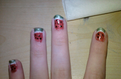 Watermelon nails x3 by Shanster2