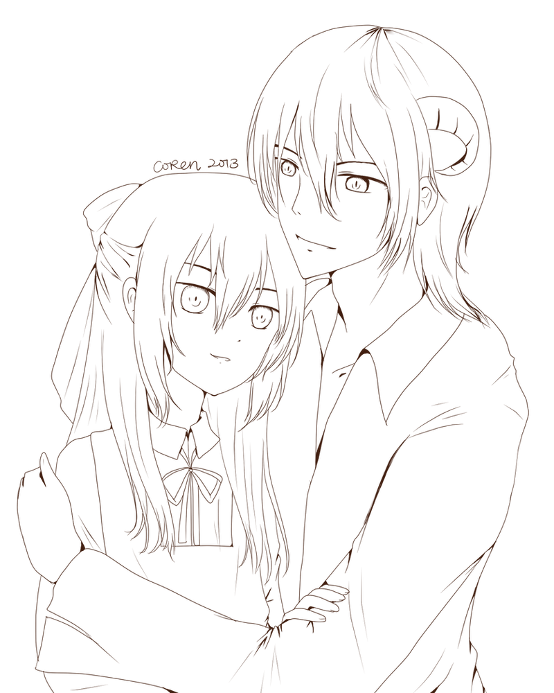 Demonic Anime Couple Lineart by CorenB