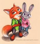 Nick and Judy (Zootopia fanart)
