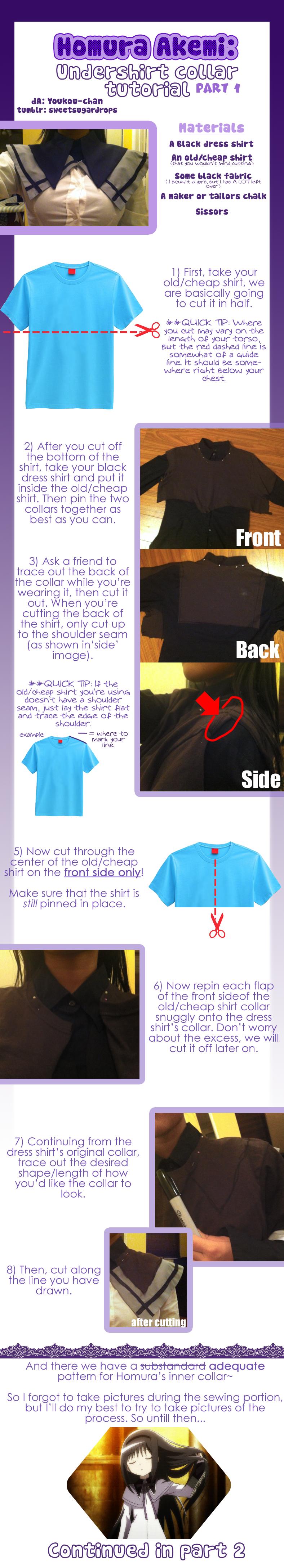  Cosplay Tutorial Homura: pt.1 Undershirt/collar 
