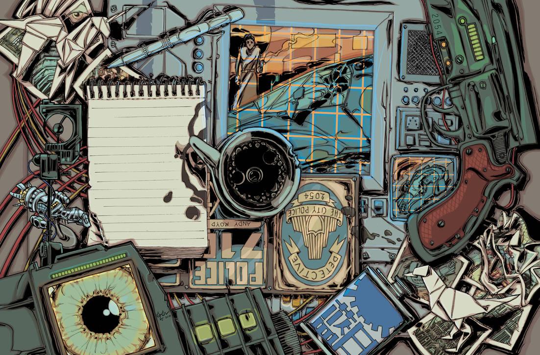 Cyberpunk detective's desk by Dragonbaze