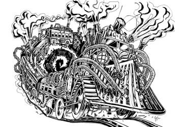 Derailed Steampunk Train by Dragonbaze