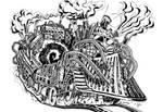 Derailed Steampunk Train