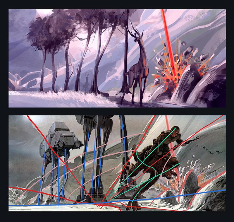 Star Wars concept art composition study