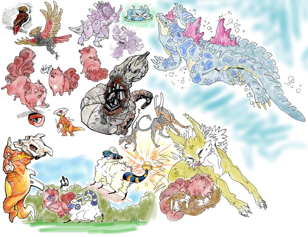Gameboy Creatures by RedWolfmoon
