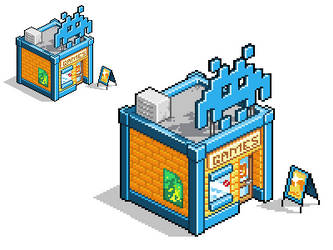 Isometric building pixel art - Video Game Shop by foxinsoxx