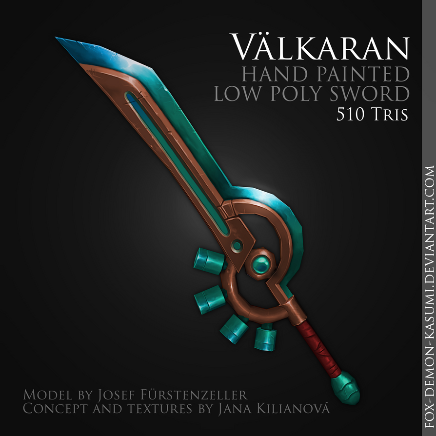 Valkaran - low poly hand painted sword by Fox-Demon-Kasumi