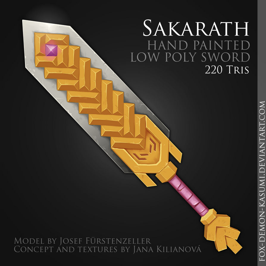 Sarkarath - low poly hand painted sword by Fox-Demon-Kasumi