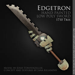 Edgetron - low poly hand painted sword
