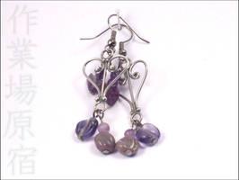 Amethyst Heart Earrings by StudioHarajuku