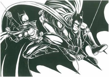 Batgirl and Batman by Bernardohq