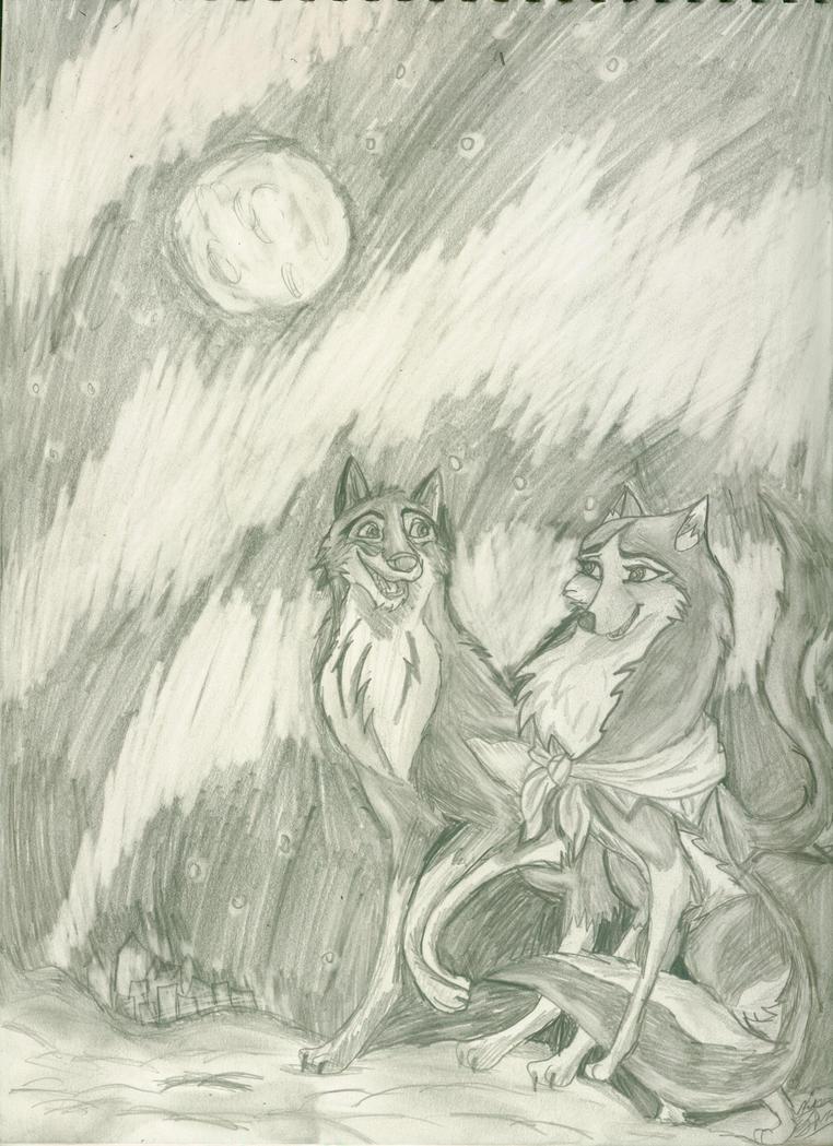 balto and jenna by the aurora by AgentWhiteHawk