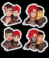 Twenty One Pilots Stickers by PricklyAlpaca