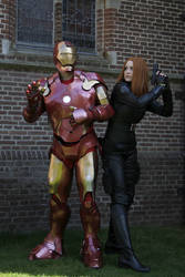 Cosplay Black Widow and Iron Man