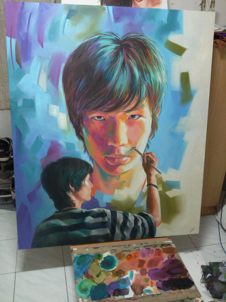 self portrait (I painted myself) by him560 on DeviantArt