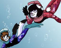 Annie and Nova go for a dive 2019 by JSenpaiDaNinja