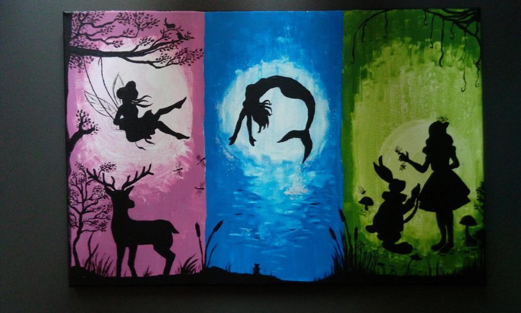 Monochromatic painting: fun silhouette by sakijane