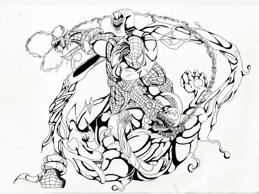 Spiderman vs venom by kylezeo on deviantart for Spiderman vs venom coloring pages