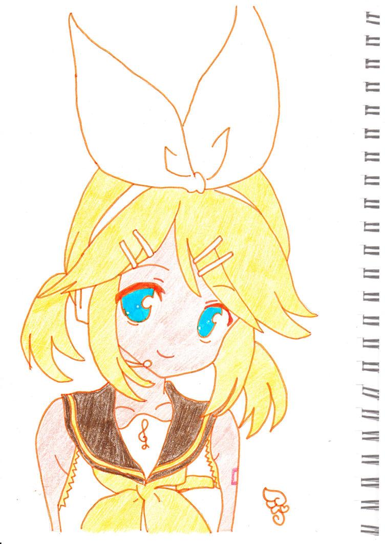 Rin Kagamine (coloured) by kawaii-kura-blossom