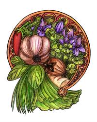 Art nouveau vegetables by MariAnrua