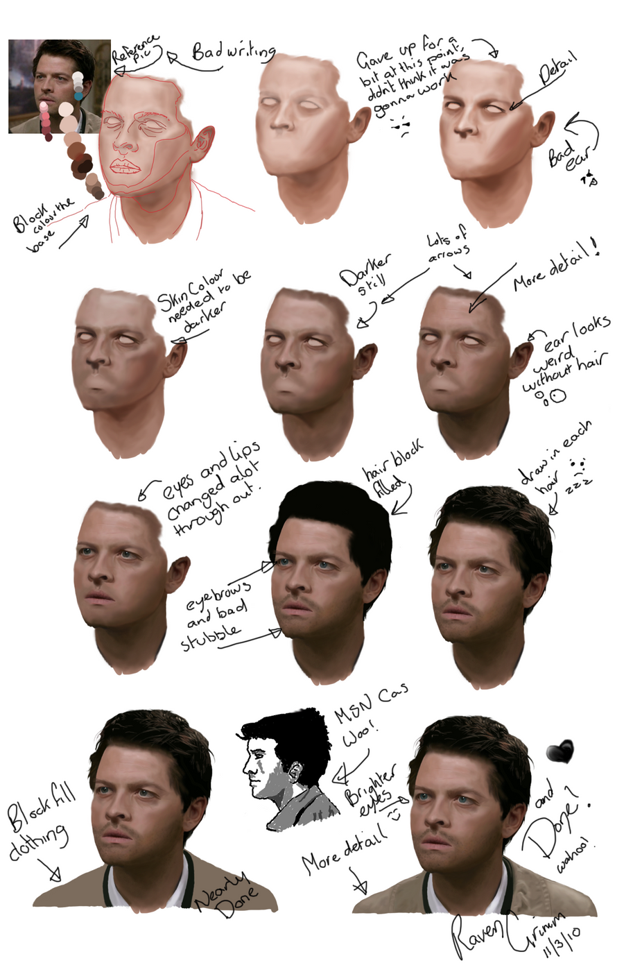 Castiel WIP Tutorial by ravengrimm