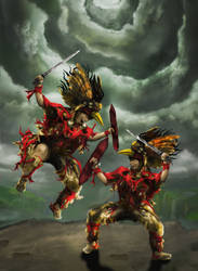 Asian Red Warrior in Battle by Foxcun