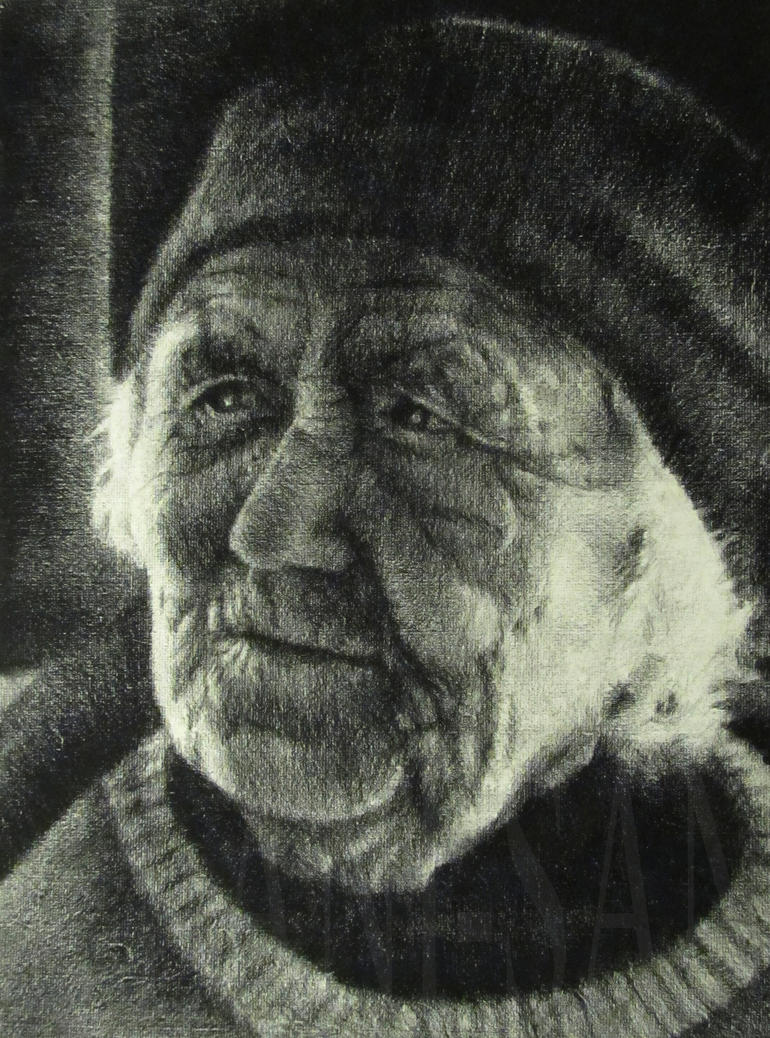 Old Woman a charcoal study by Lani-San
