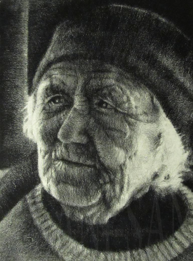 Old Woman a charcoal study by Lani-San