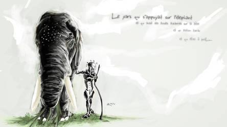 homme et elephant by LK971