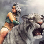 Warrior Woman Riding a White Tiger Fantasy Art