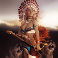Native American Girl with Wolves Fantasy Art