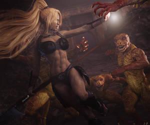 Fantasy Warrior Woman vs. Lizardmen Fantasy Art by shibashake