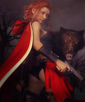 Red Riding Hood and Her Big Black Wolf Fantasy Art by shibashake