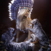 Native American Girl and Tiger Cubs Fantasy Art by shibashake