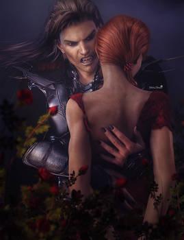 Vampire Man with Redhead Girl Fantasy Art