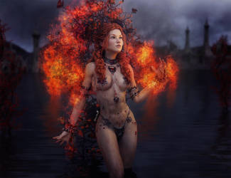 Girl on Fire Fantasy Art with TerraDome 3 Iray
