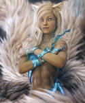 White Fox Girl with 7 Tails, Fantasy Art