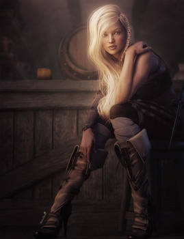 Medieval Tavern Girl Fantasy Art
