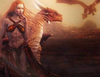 Redhead Fantasy Girl Warrior with Dragons, 3D-Art