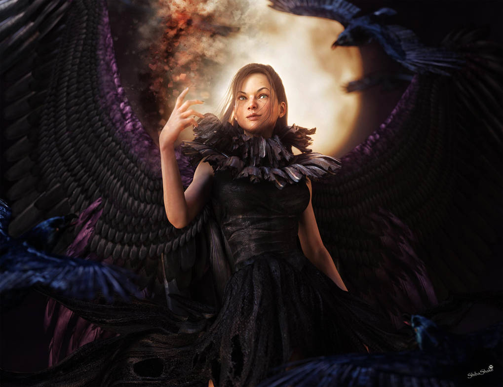 d9a36161 Gothic Raven Woman with Dark Wings and Moon Art by shibashake on ...