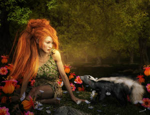 Fantasy Redhead Woodland Girl and Friend, 3D-Art