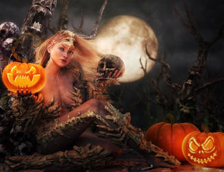 Happy Halloween Fantasy Girl, 3D-Art by shibashake