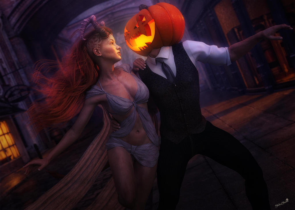 Evil Spirits in Love, 3D-Art by shibashake